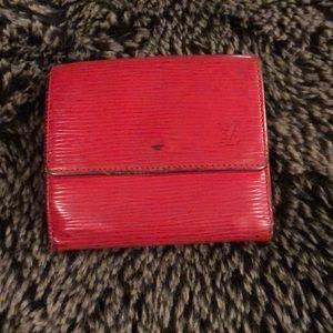 LV red epi leather wallet